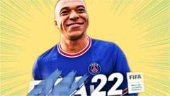 Mbappe as seen on fifa cover in pop art style.