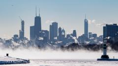 Chicago skyline in the cold
