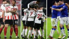 Sheffield United (left), Manchester United (centre) and Everton (right) players celebrate after scoring