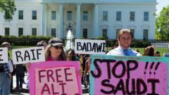 Protest in Washington against human rights abuses in Saudi Arabia (file photo)