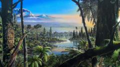 Artist impression of Antarctica's polar forest 90 million years ago