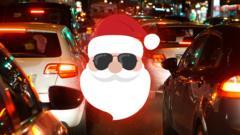 Santa in traffic