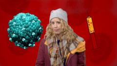 Laura Foster stands next to an image of a flu virus and a vaccine