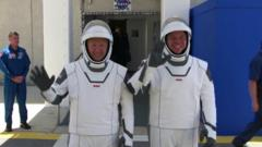Nasa astronauts prepare for their flight to space on a SpaceX craft