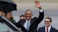 Obama's waves after arriving in Havana