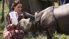 The Duchess of Cambridge feeding baby Rhino