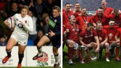 A composite picture featuring England womens rugby team and Wales Mens rugby team