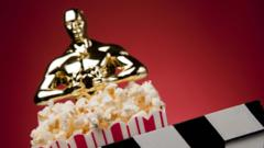 Oscars statue with some popcorn