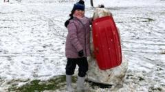 sledging snowman