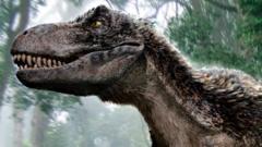 Artwork of a Tyrannosaurus rex dinosaur