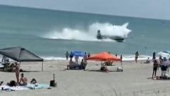 Plane landing in Cocoa Beach, Florida