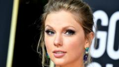 Taylor Swift on the red carpet at the Golden Globe awards in January 2020