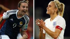 Scotland-player-Caroline-Weir-and-England-player-Steph-Houghton