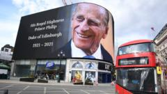 A tribute to Prince Philip in Piccadilly Circus