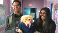 Trump puppet with two students