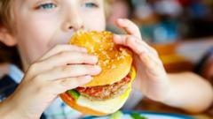 Child eating a burger