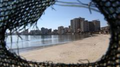 Destroyed and deserted hotels are seen in an area used by the Turkish military, in the Turkish occupied area, in the abandoned coastal city of Varosha in Famagusta, Cyprus