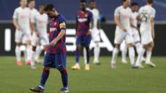 Lionel Messi reacts after Barcelona's 8-2 Champions League defeat to Bayern Munich
