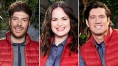 I'm A Celebrity contestants Jordan North, Giovanna Fletcher and Vernon Kay
