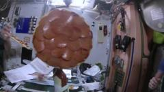"""Flying saucers of the edible kind."" it's the first pizza party in space"