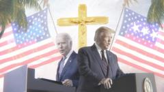 Composite image showing Biden and Trump at podiums with Christian cross behind them and US flags
