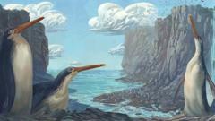A giant fossilised penguin artwork