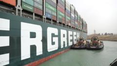 Suez Canal ship wedged