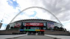 General view outside the stadium ahead of The Heads Up FA Cup Final match between Arsenal and Chelsea at Wembley Stadium on August 01, 2020