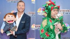 Paul Zerdin with 'Sam' and Piff the Magic Dragon with 'Mr Piffles'
