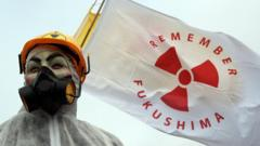 Anti nuclear protester holding Remember Fukushima sign in UK