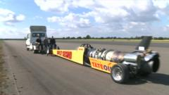 Jet powered car smashes record
