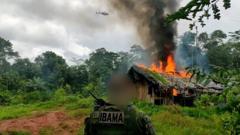 IBAMA officer infant of burning building