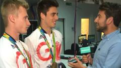 Ricky talking to Jack Laugher and Chris Mears