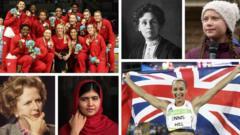 England women's netball team, Emmeline Pankhurst, Greta Thunberg, Margaret Thatcher, Malala Yousafzai and Jessica Ennis-Hill
