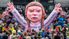 A float featuring an effigy of climate activist Greta Thunberg