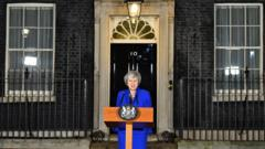 Theresa May giving a speech outside Downing St
