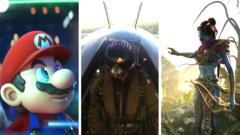 Still from Mario, Flight Simulator and Avatar game
