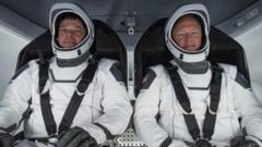Nasa astronauts ahead of their launch into space in May 2020