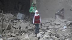 Syrian children in bombed building