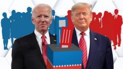 Illustration of Joe Biden and Donald Trump behind a ballot box