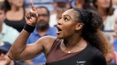 Serena Williams pointing at the chair umpire