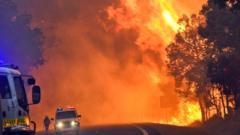 A handout photo taken on January 7, 2016 and released on January 8 by the Department of Fire and Emergency Services shows firefighters battling a fire near Yarloop in Western Australia. The out-of-control blaze 110 kilometres (68 miles) south of Perth more than doubled in size in 24 hours and has now burned through 53,000 hectares (130,000 acres), with a third of the town of Yarloop destroyed.