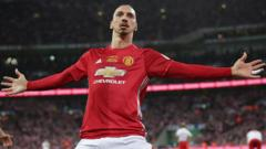 Zlatan Ibrahimovic celebrates scoring for Manchester United against Southampton in the EFL Cup final at Wembley