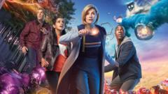 BBC handout photo of Jodie Whittaker as The Doctor with (left to right) Bradley Walsh as Graham, Mandip Gill as Yaz and Tosin Cole as Ryan from the BBC1 science fiction programme, Doctor Who.