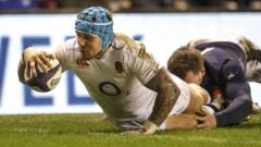 Jack Nowell crosses for England's second try in their win over Scotland