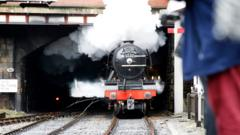 The Flying Scotsman train at the East Lancashire Railway tracks in public for the first time after the successful completion of a decade-long £4.2m restoration project.