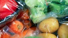 Vegetables individually wrapped in plastic cellophane.