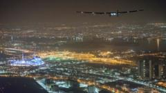 Solar Impulse 2 flying over Abu Dhabi