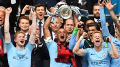 Manchester City players lift FA Cup trophy 2019