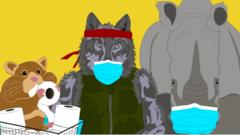 Image of a hamster eating toilet paper, a wolf with a mask and a bandana and a rhino with a mask